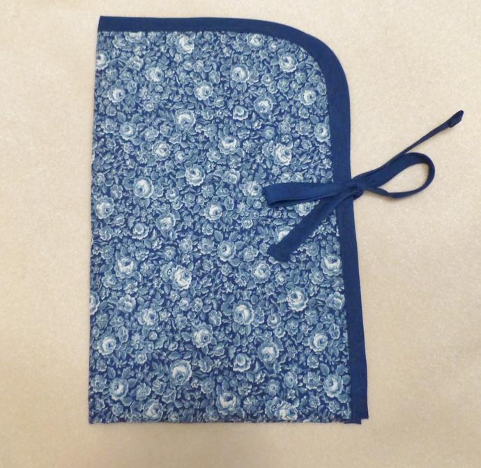 Fabric folder, Fabric organizer, Quilted fabric folder, Navy floral fabric,