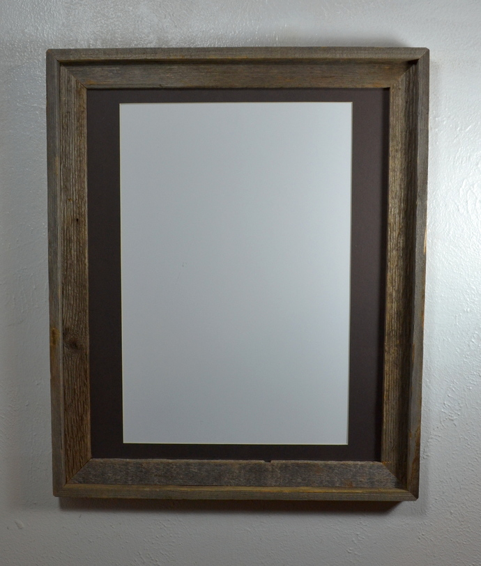 16x20 recycled wood poster frame with12x18 charcoal mat