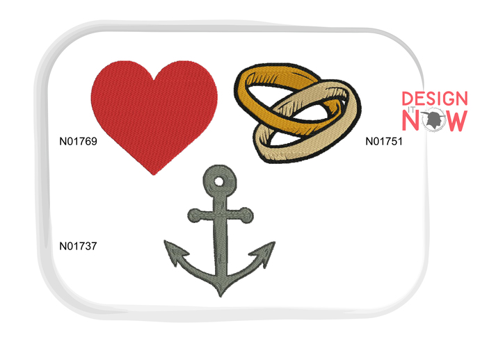 Love Heart Rings Anchor Machine Embroidery Design - 5 Sizes Set of 3