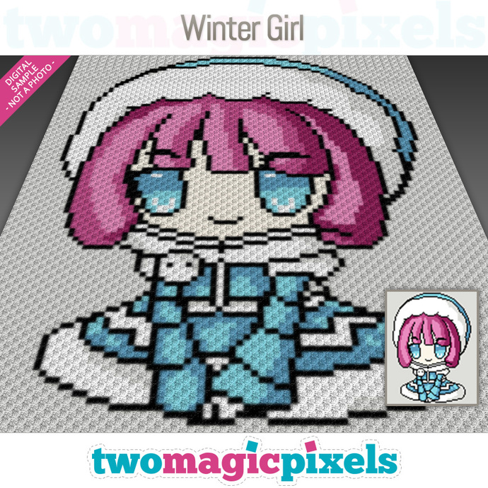 Winter Girl crochet graph (C2C, Mini C2C, SC, HDC, DC, TSS), cross stitch;