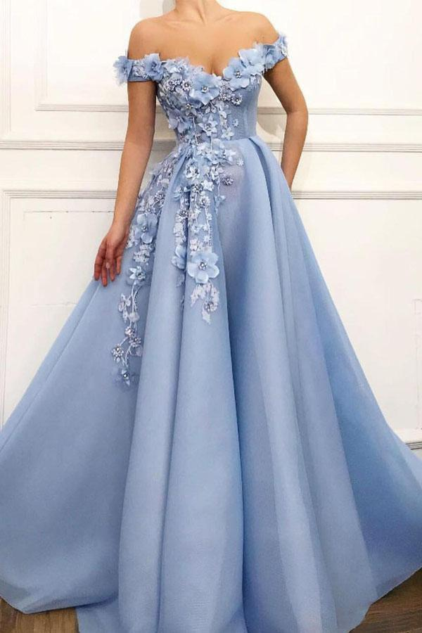 Blue Off Shoulder Flower Appliques A-line Long Modest Beautiful Prom Dresses