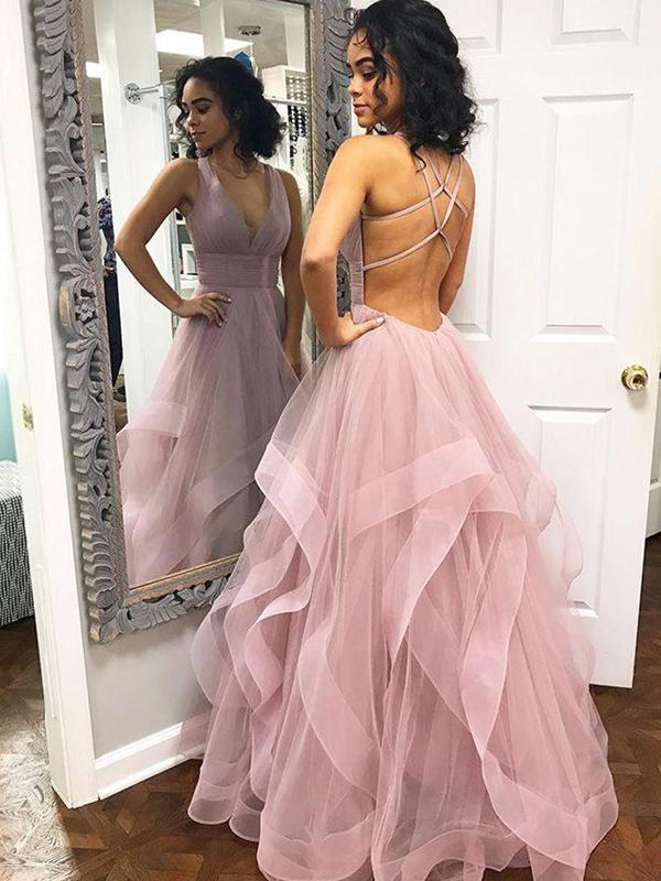 431821728a Blush Pink Ruffles Ball Gown Criss-Cross Backless Prom Dresses V-neck Long  Prom