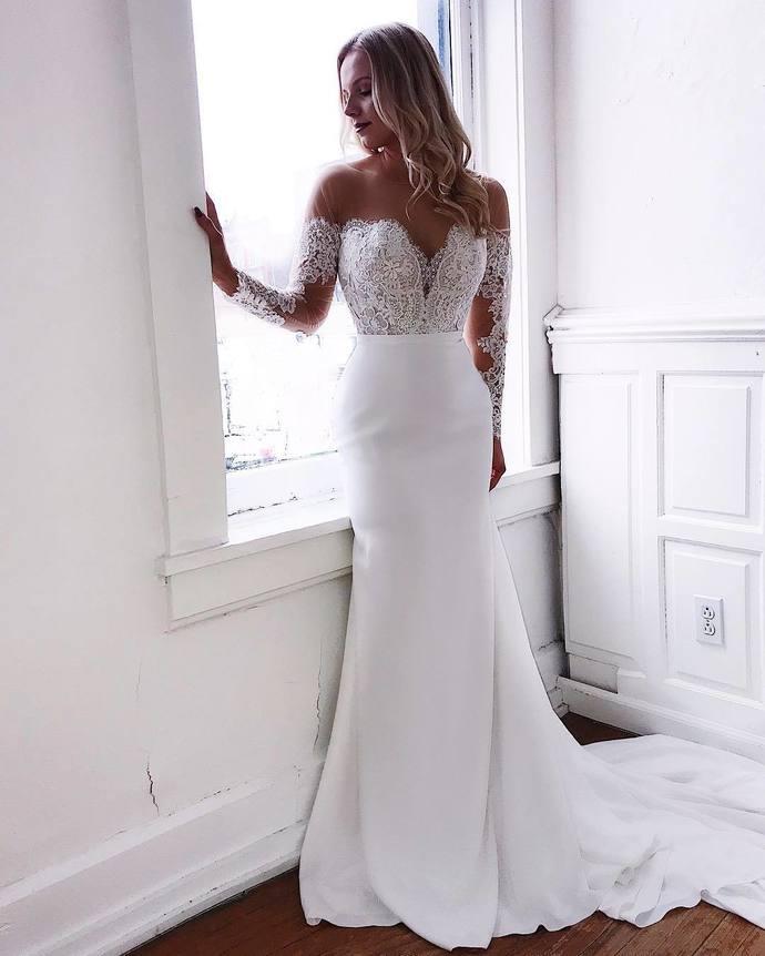 Sexy white Wedding Dress Chiffon Mermaid Prom Dress Long Evening Dress Lace