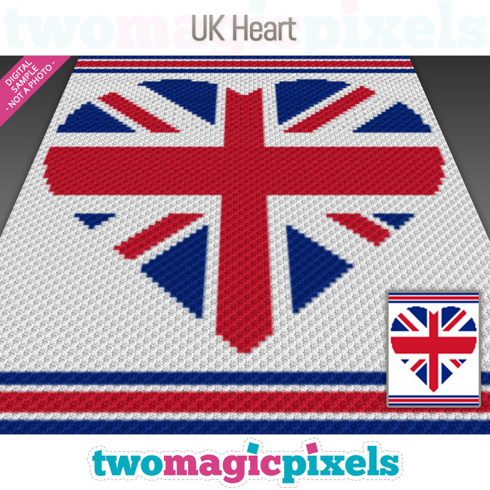 UK Heart crochet graph (C2C, Mini C2C, SC, HDC, DC, TSS), cross stitch;