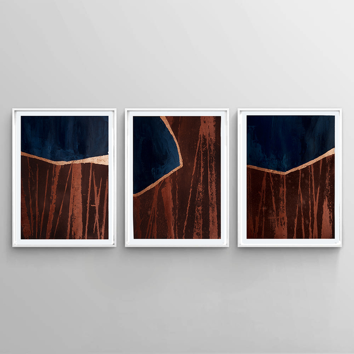 Original abstract painting on paper, wall art, art set of 3, acrylic painting,