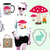 Animals Collection Set Mushrooms Bunny Chicken Patch Rabbit Heart Forest Set Cut