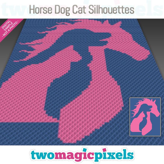 Horse Dog Cat Silhouettes crochet graph (C2C, Mini C2C, SC, HDC, DC, TSS), cross