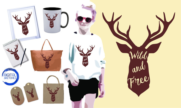 Deer Head Antlers Saying Wild And Free Illustration Cut File Cutting File Vector