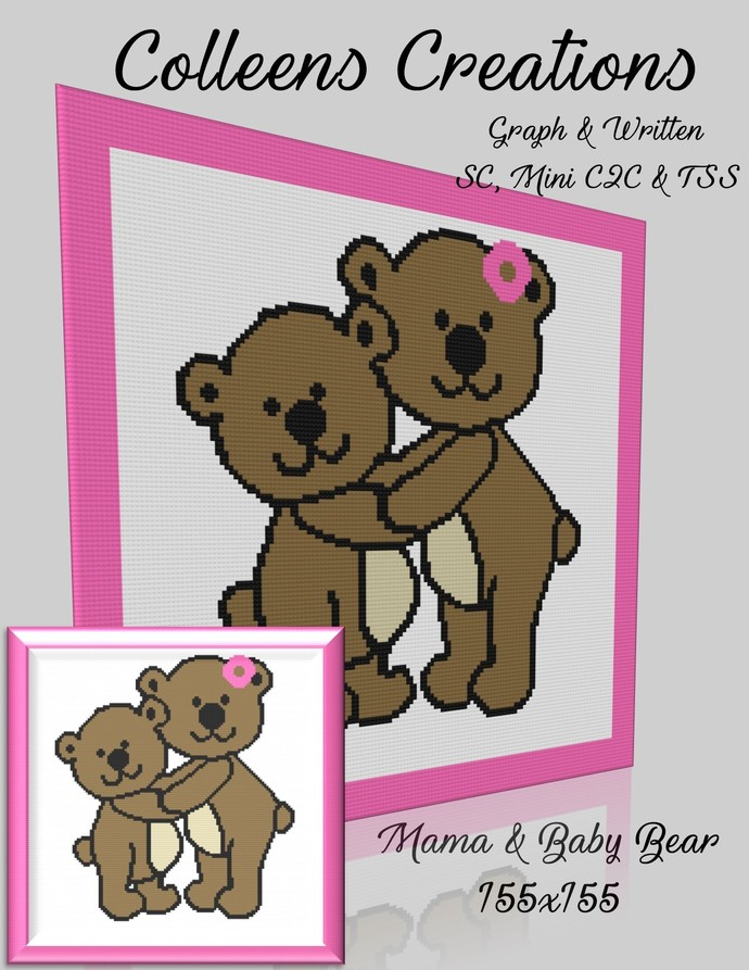 Mama & Baby Bear Crochet Written and Graph Design