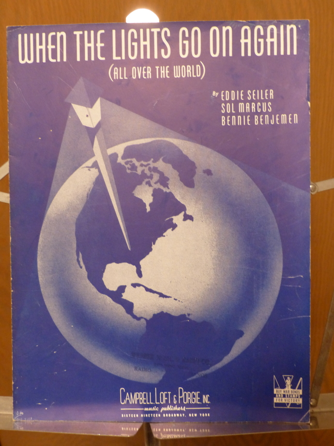 When the Lights Go On Again, Vintage sheet music, Collectible music, Antique