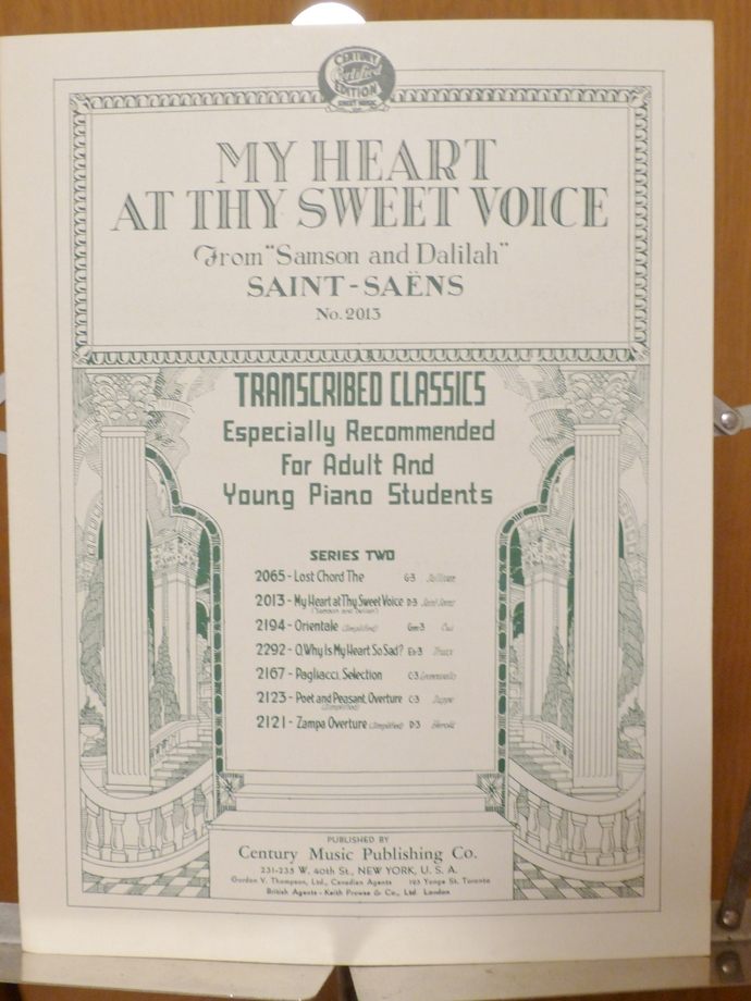 My Heart At Thy Sweet Voice, Vintage sheet music, Collectible music, Antique