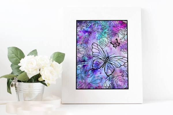 Floral Butterfly Handcut Papercut