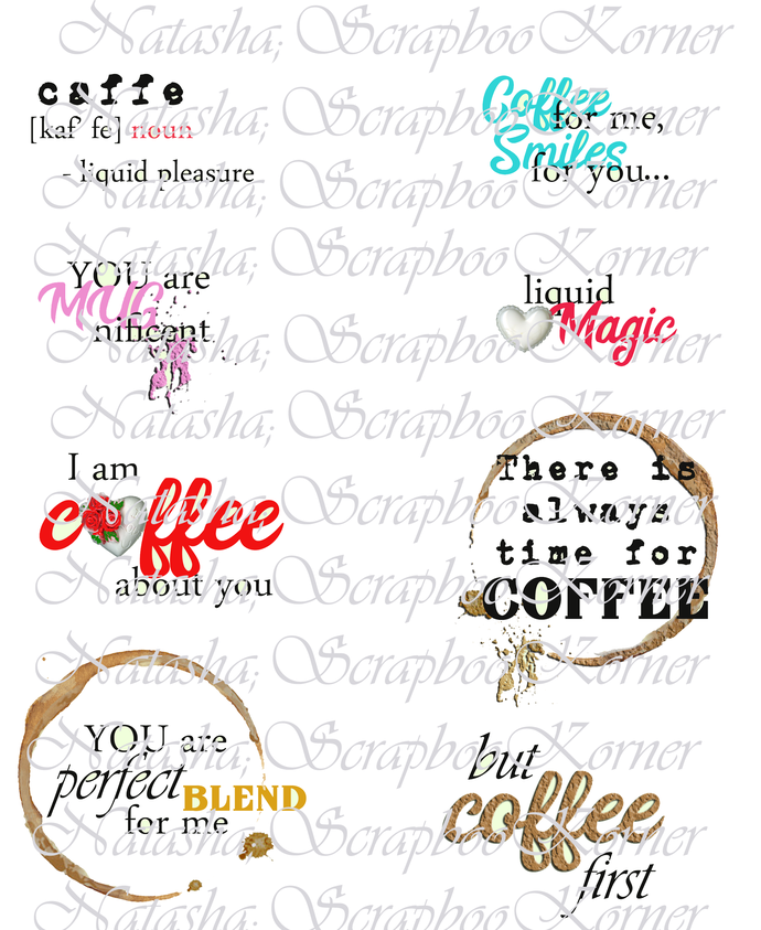 Digital Paper Collection Shabby Mug of Coffee Printable with Templates and