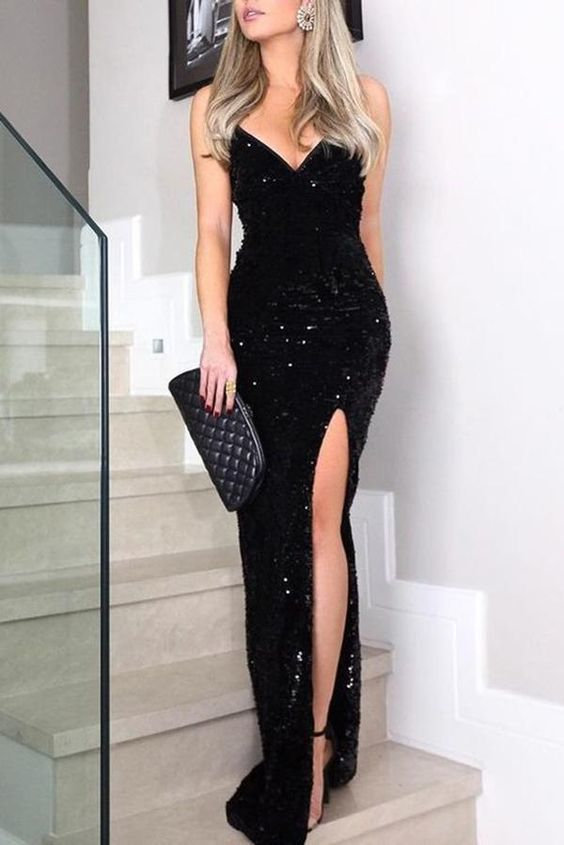 New Arrival Sexy Sleeveless Spaghetti Straps Black Prom Dress Bling Evening Gown