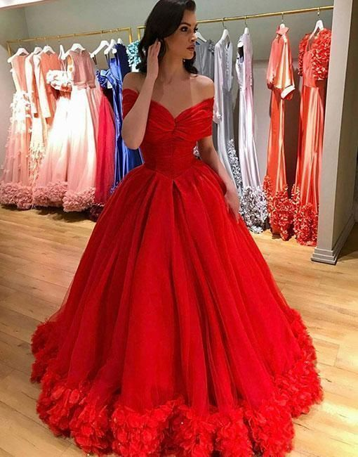 58a3212a7fc Custom Made Tulle Red Off the Shoulder Long Prom Dress Formal Evening Gowns