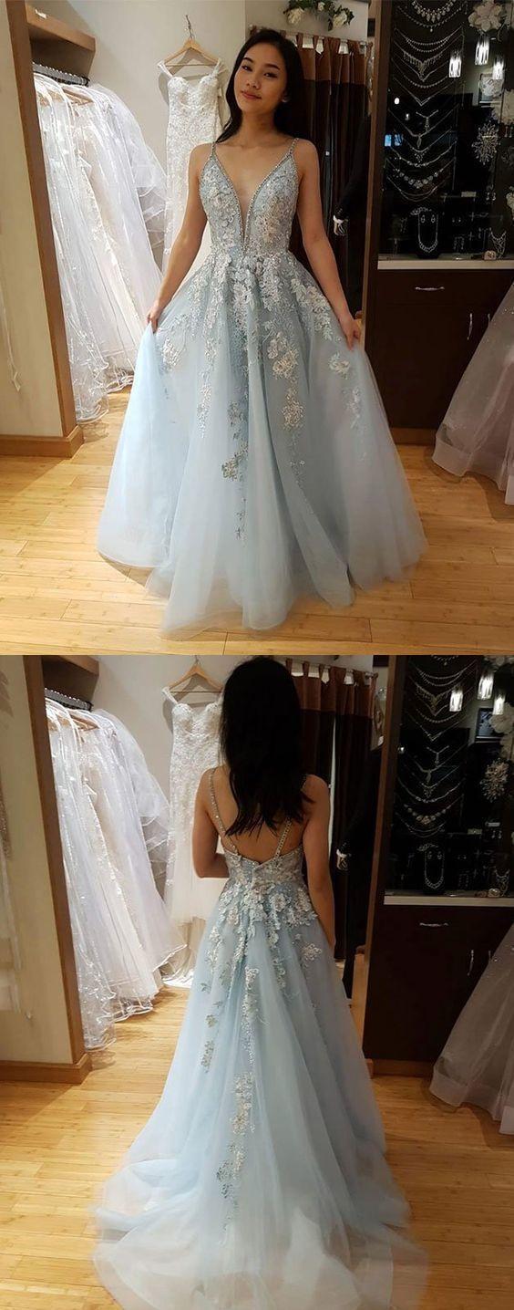 Blue v neck tulle lace long prom dress, blue lace evening dress