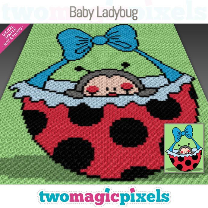 Baby Ladybug crochet graph (C2C, Mini C2C, SC, HDC, DC, TSS), cross stitch;