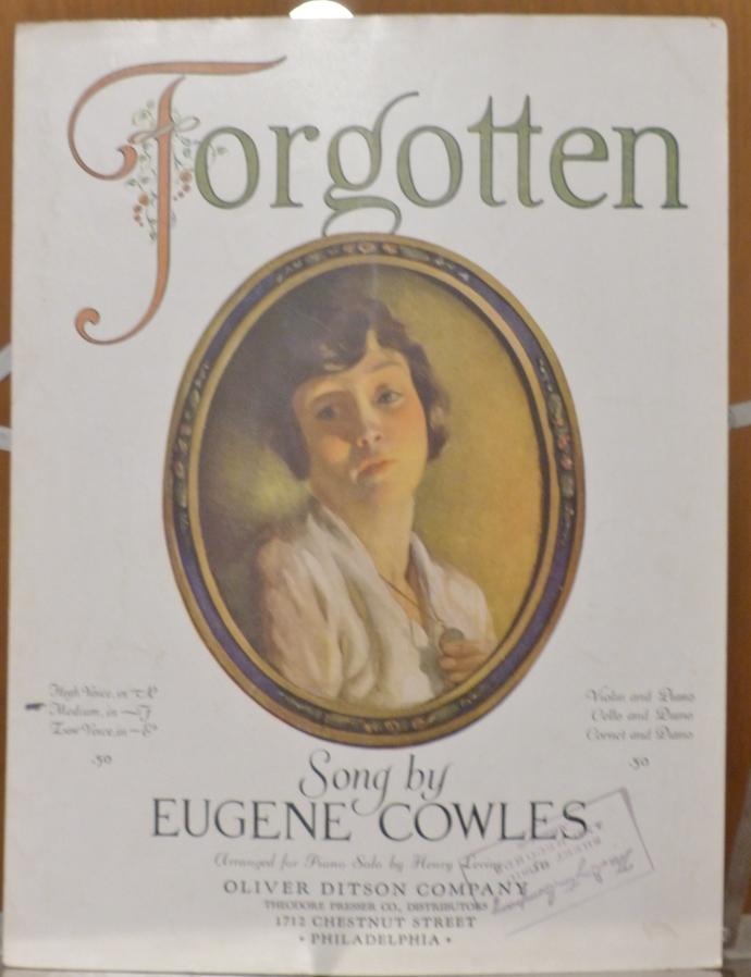 Forgotten, Vintage sheet music, Collectible music, Antique sheet music, 1922