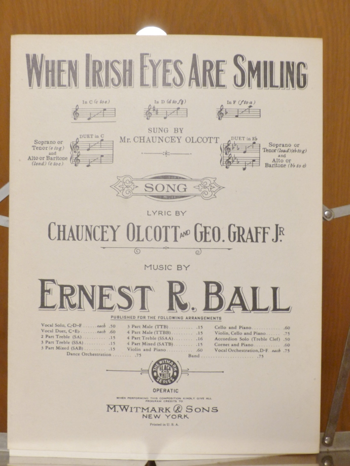 When Irish Eyes Are Smiling, Vintage sheet music, Collectible music, Antique