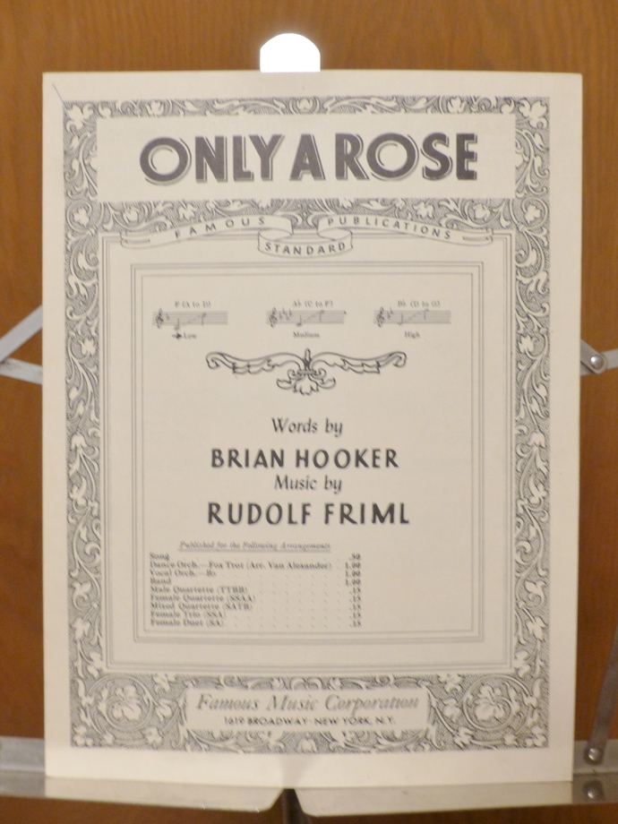 Only a Rose, Vintage sheet music, Collectible music, Antique sheet music, 1925