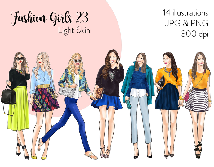 Watercolor fashion illustration clipart - Fashion Girls 23 - Light Skin