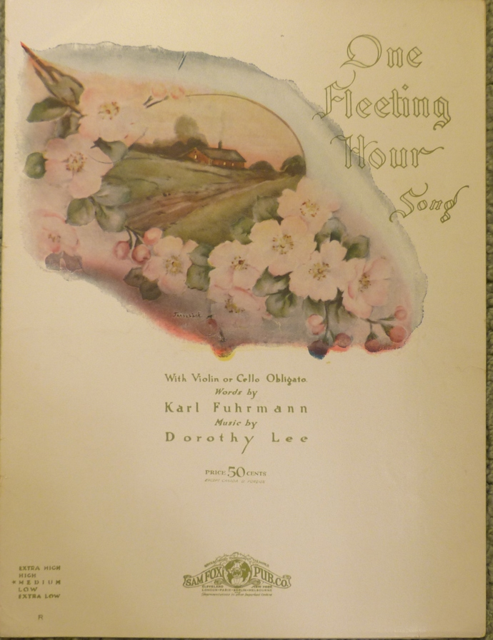 One Fleeting Hour, Vintage sheet music, Collectible music, Antique sheet music,