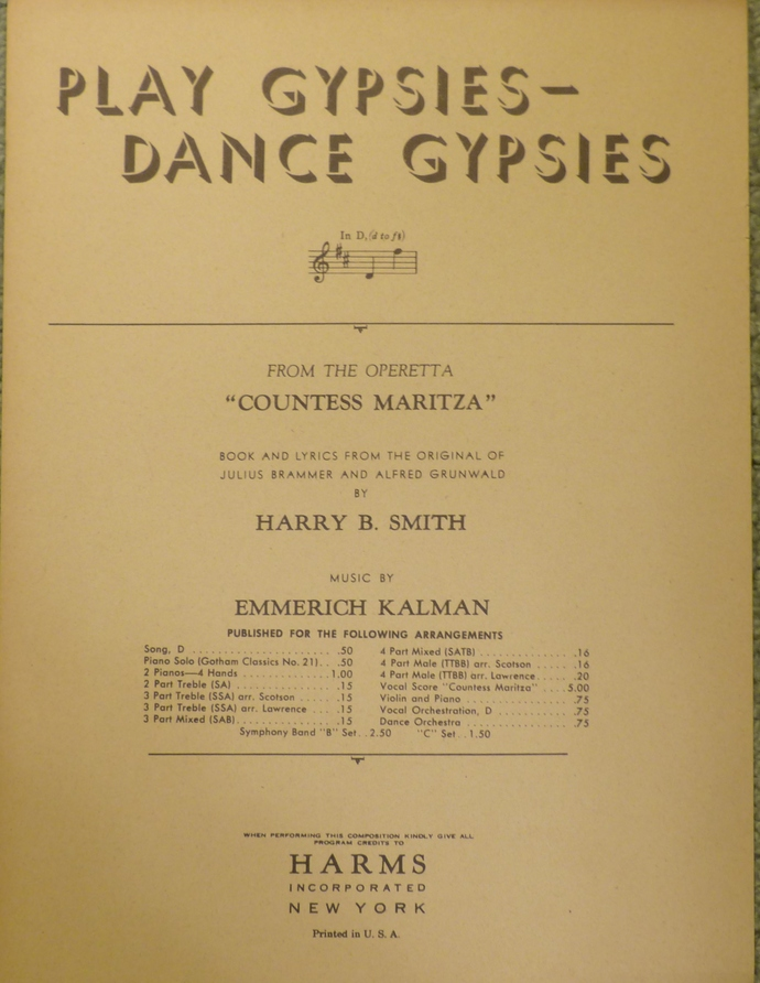 Play Gypsies Dance Gypsies, Vintage sheet music, Collectible music, Antique