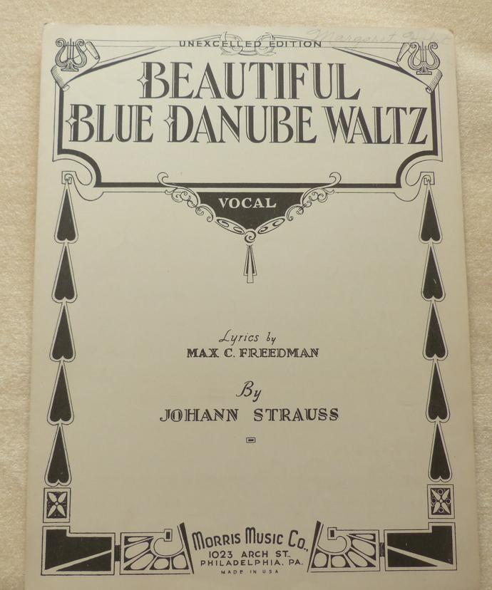 Beautiful Blue Danube Waltz, Vintage sheet music, Collectible music, Antique
