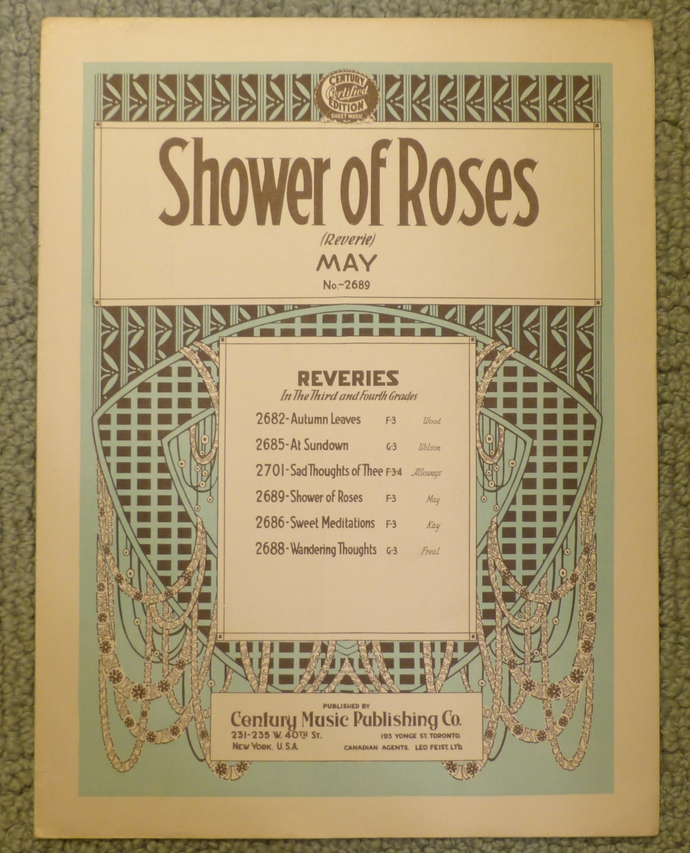 Shower of Roses, Vintage sheet music, Collectible music, Antique sheet music,