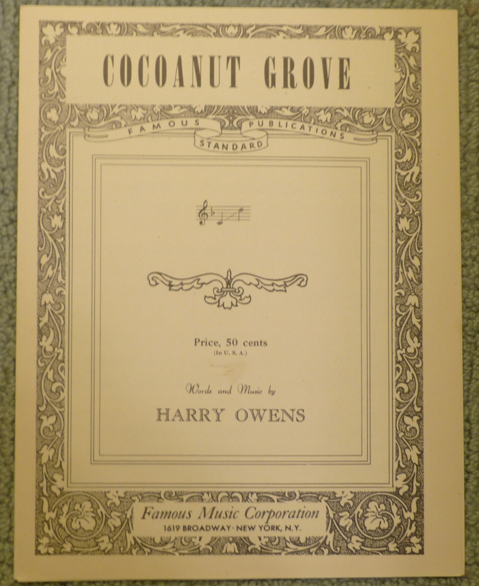 Cocoanut Grove, Vintage sheet music, Collectible music, Antique sheet music,