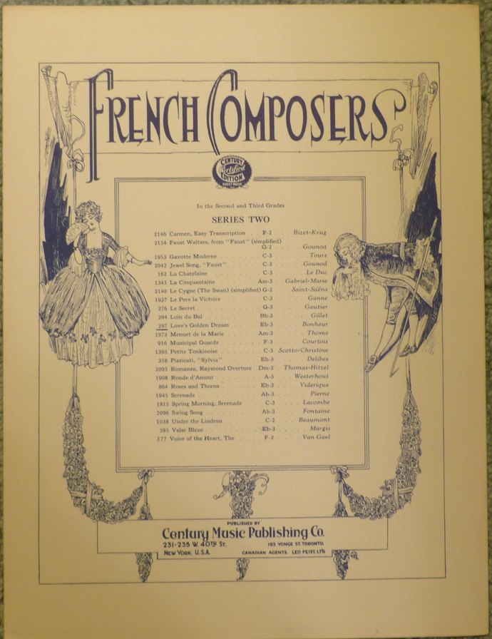 French Composers, Love's Golden Dream, Vintage sheet music, Collectible music,