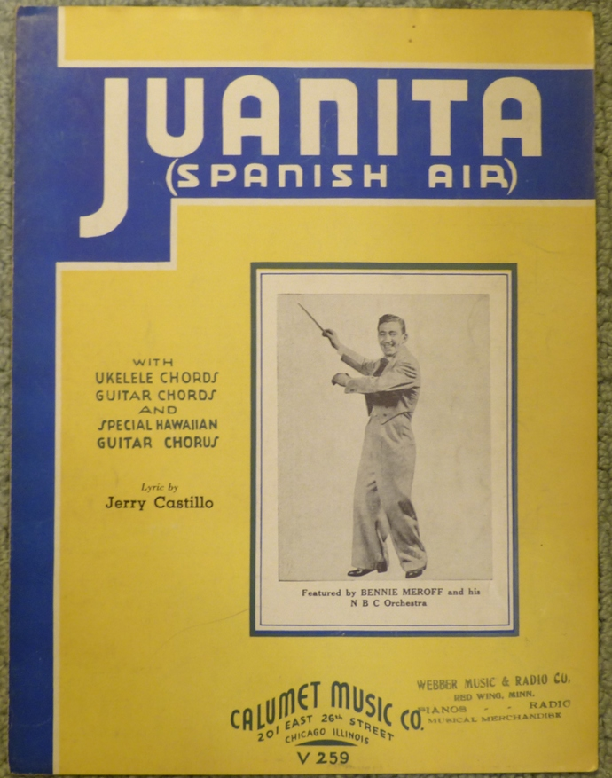 Juanita (Spanish Air), Vintage sheet music, Collectible music, Antique sheet
