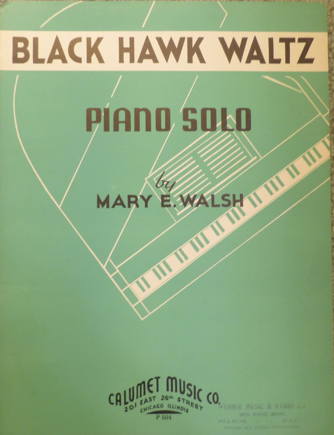 Black Hawk Waltz, Vintage sheet music, Collectible music, Antique sheet music,