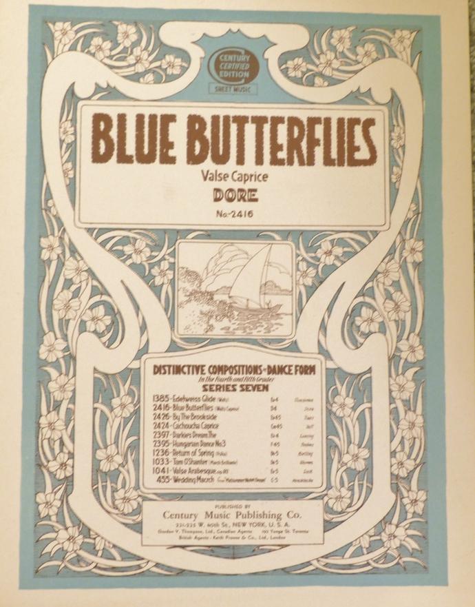 Blue Butterflies, Vintage sheet music, Collectible music, Antique sheet music,