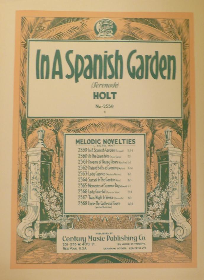 In a Spanish Garden, Vintage sheet music, Collectible music, Antique sheet