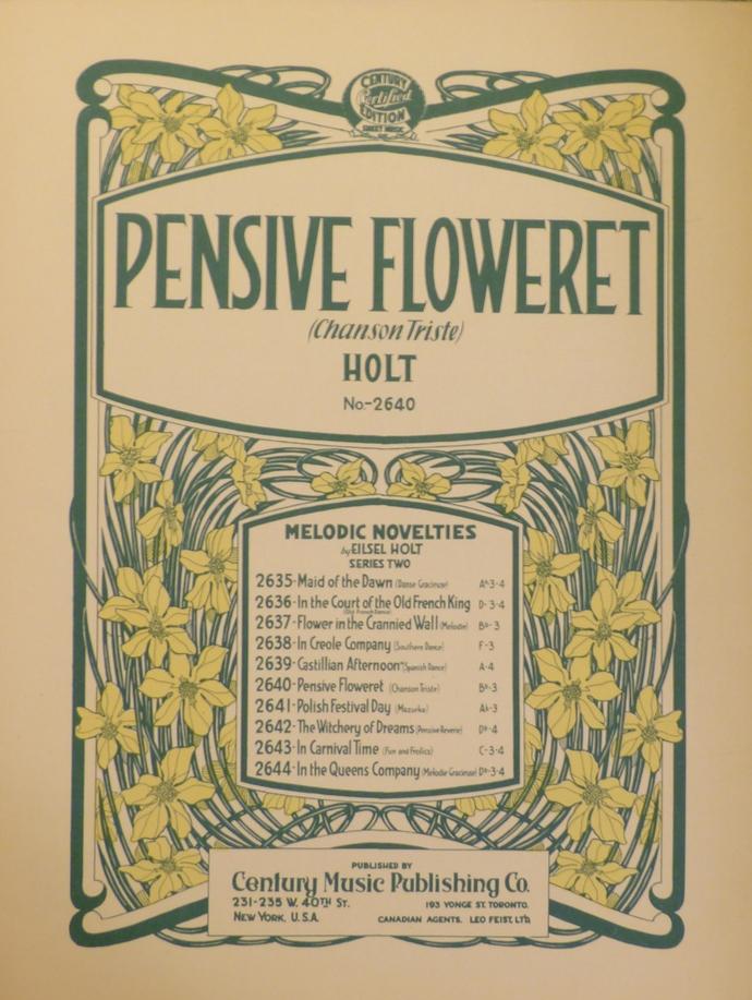 Pensive Floweret, Vintage sheet music, Collectible music, Antique sheet music,