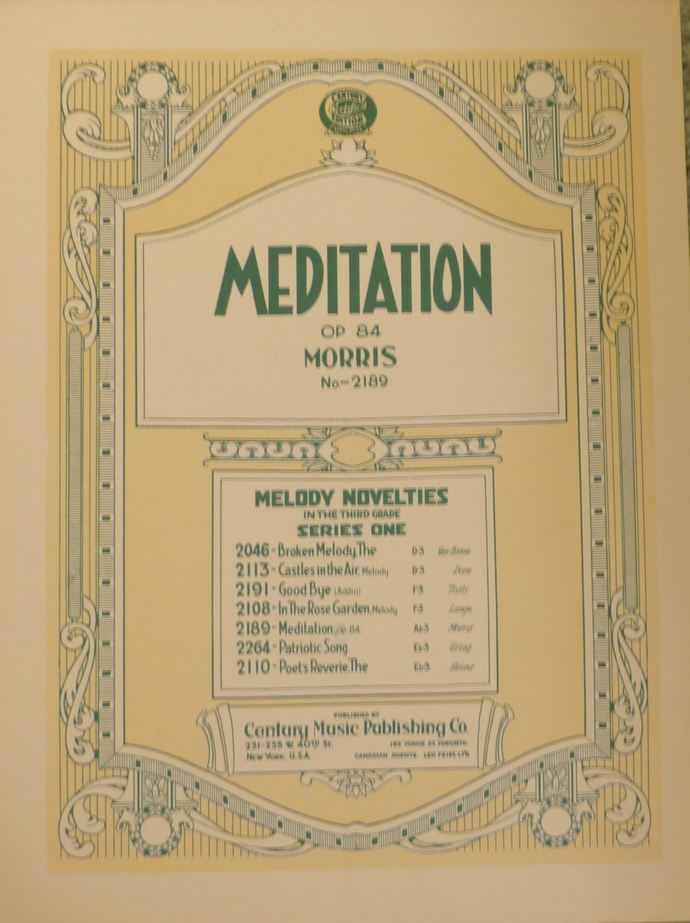 Meditation, Vintage sheet music, Collectible music, Antique sheet music, 1923