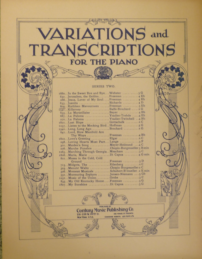 Variations and Transcriptions, Kathleen Mavourneen, Vintage sheet music,
