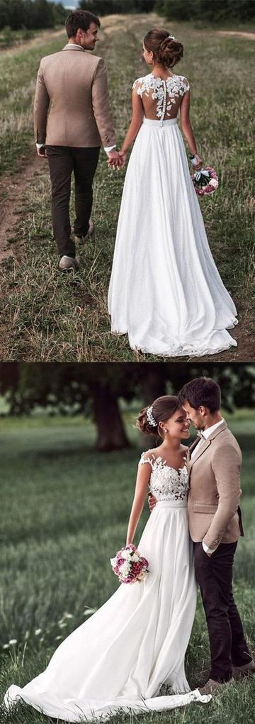 A-line See-through Sleeveless Lace Appliqued Bodice Beach Wedding Dresses