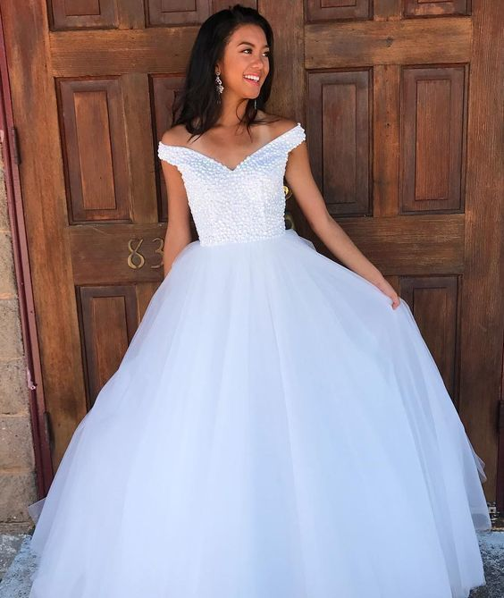 Gorgeous Off the shoulder White Beads Long Prom Dress