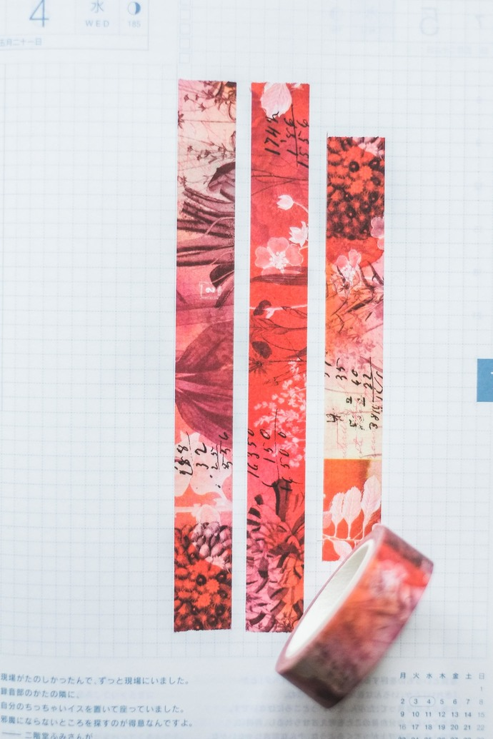 Red Hot - 1.5 cm wide washi tape 10m - original design, perfect for Travelers