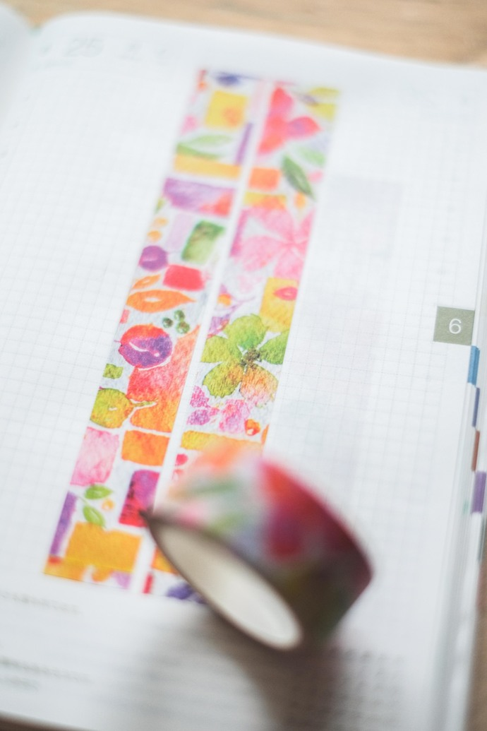 Palette & leaves - 2 cm wide washi tape 10m - original design, perfect for