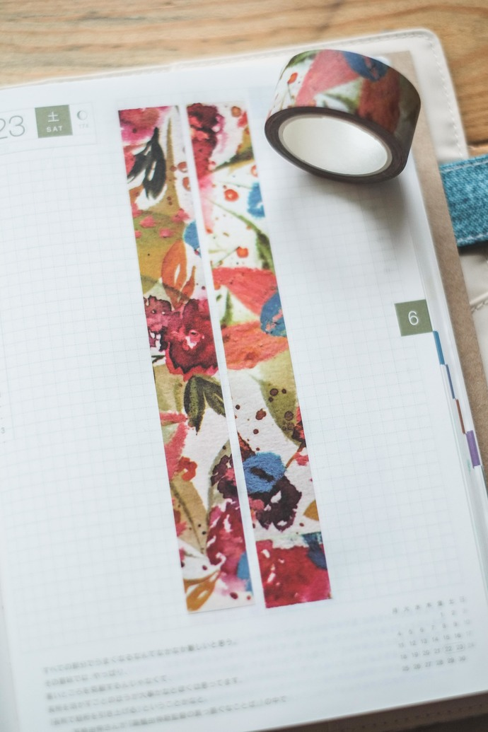 Loose blooms - 2 cm wide washi tape 10m - original design, perfect for