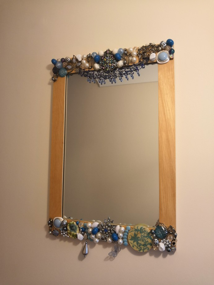 Blue Up-cycled Bejeweled Mirror