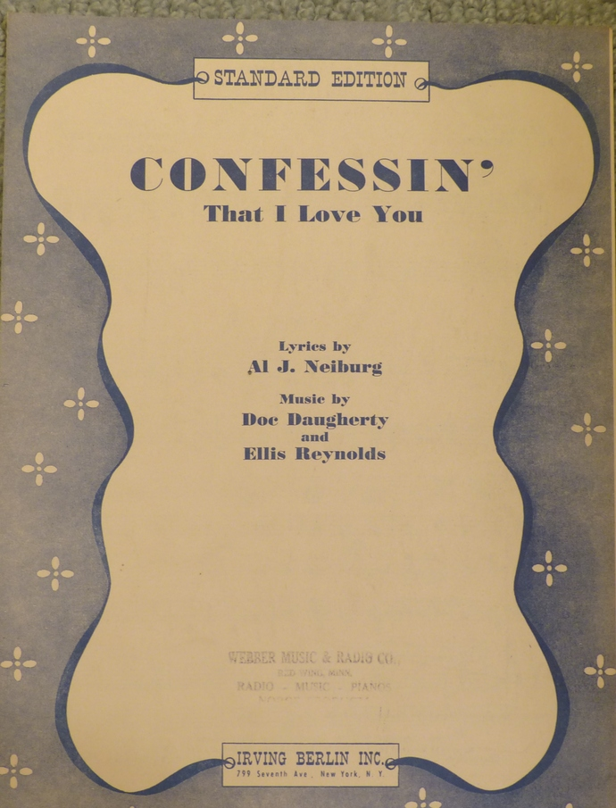 Confessin' That I Love You, Vintage sheet music, Collectible music, Antique