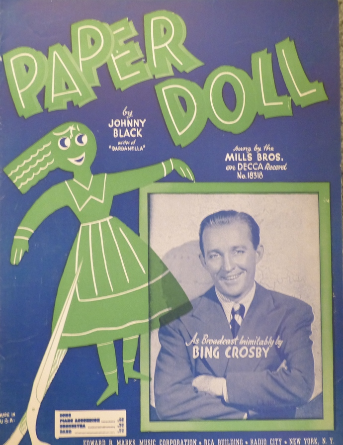 Paper Doll, Vintage sheet music, Collectible music, Antique sheet music, 1943