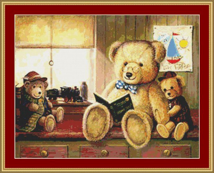 Bear Stories Cross Stitch Pattern - Instant Downloadable Digital Pattern
