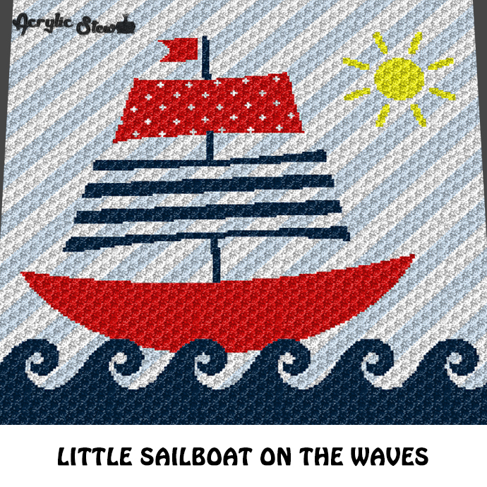 Sailboat On the Waves Nautical Themed Baby and Kids crochet graphgan blanket