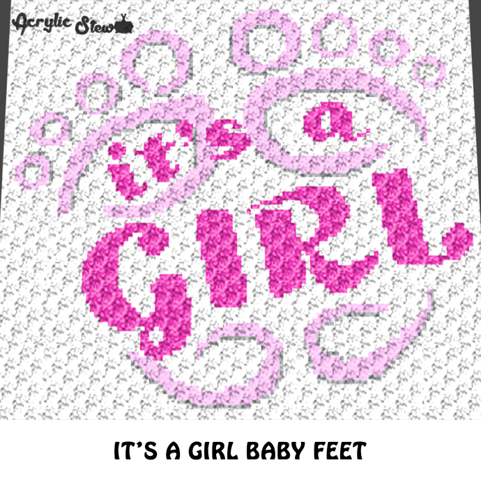 It's A Girl Baby Feet Baby Shower Quote crochet graphgan blanket pattern; c2c,