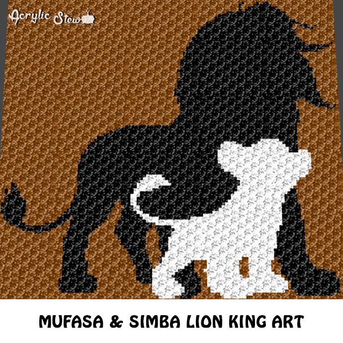 Mufasa and Simba Lion King Movie Disney Character crochet graphgan blanket